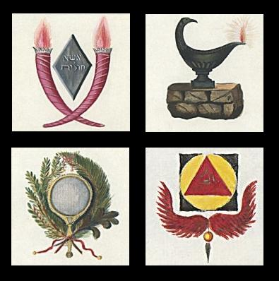 Torches, Lamp, Winged Symbol, Wreath